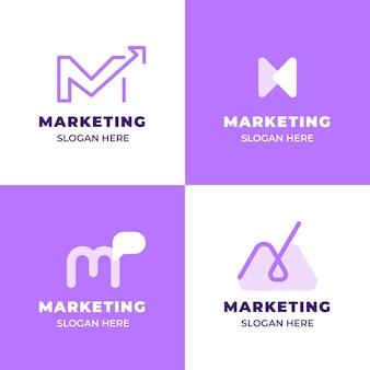 평면 디자인 마케팅 로고 세트