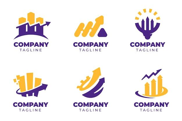 Flat design marketing logo template set