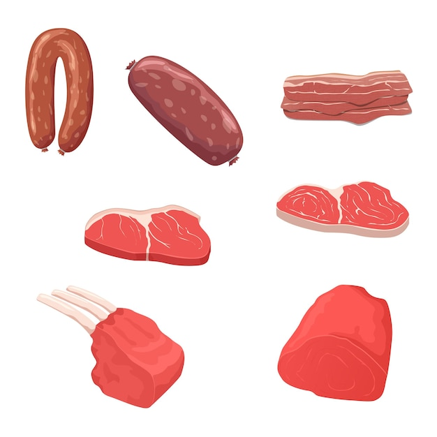 Flat design meat products vector icon set.