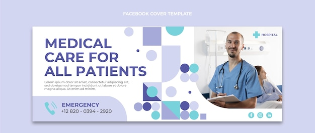 Плоский дизайн обложки facebook для медицинской помощи