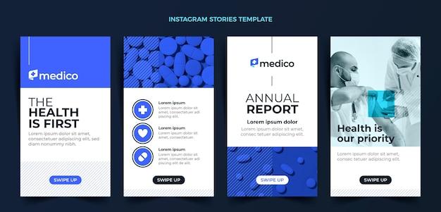 Flat design medical care instagram stories