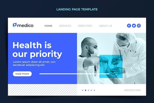Pagina di destinazione per cure mediche dal design piatto