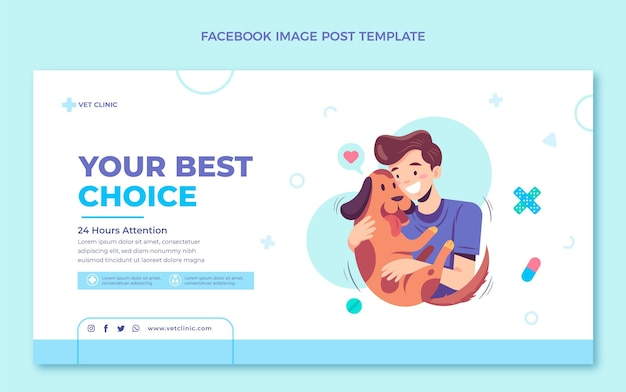 Post di facebook medico dal design piatto