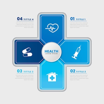 Flat design medical health template infographic