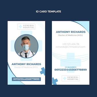 Flat design medical id card template