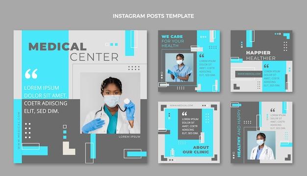 Flat design medical instagram post pack