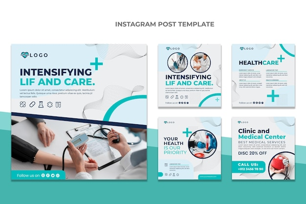 Flat design medical instagram post