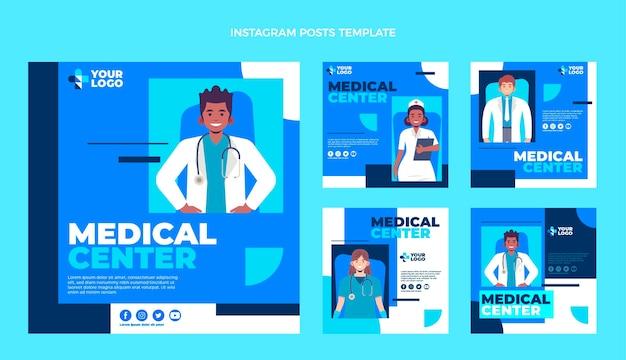 Медицинские посты instagram в плоском дизайне
