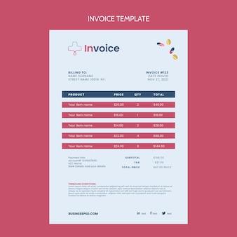 Flat design medical invoice template