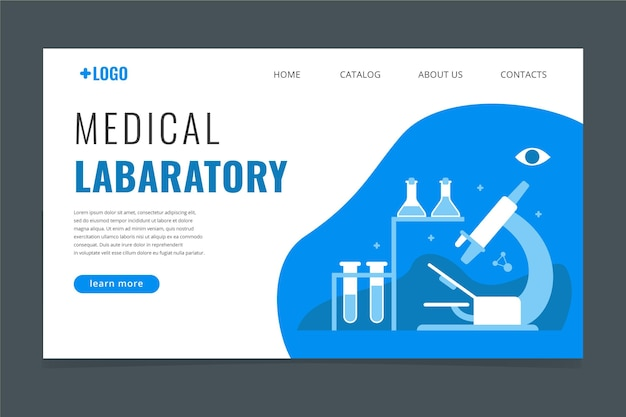 Плоский дизайн медицинского шаблона целевой страницы