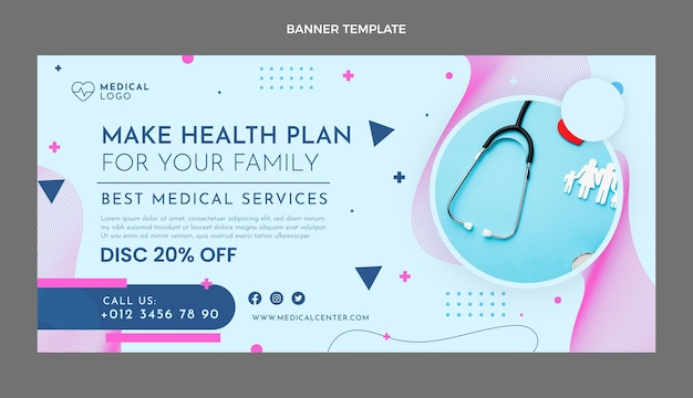割引付きフラットデザイン医療販売バナー