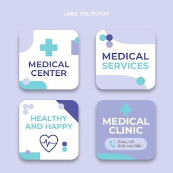 フラットデザインの医療サービスラベル