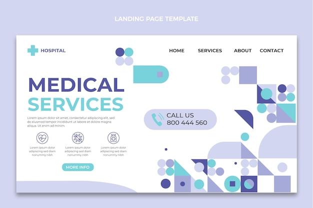 フラットデザインの医療サービスのランディングページ
