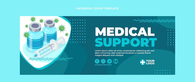 Плоский дизайн обложки facebook для медицинской поддержки