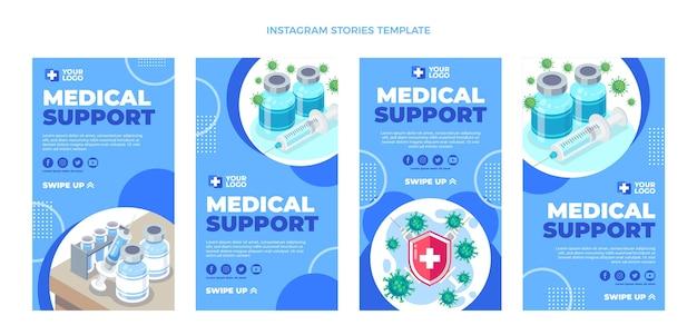 Flat design medical support instagram stories