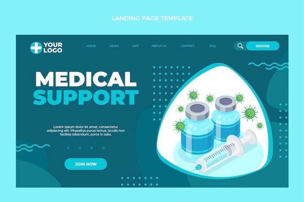 フラットデザインの医療サポートのランディングページ