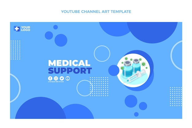 Flat design medical support youtube channel