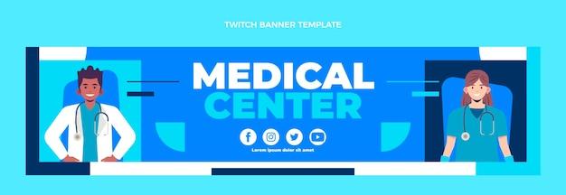 Flat design medical twitch banner
