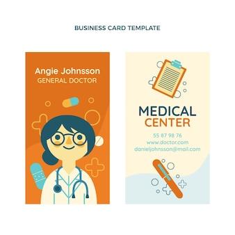 Плоский дизайн медицинской вертикальной визитки
