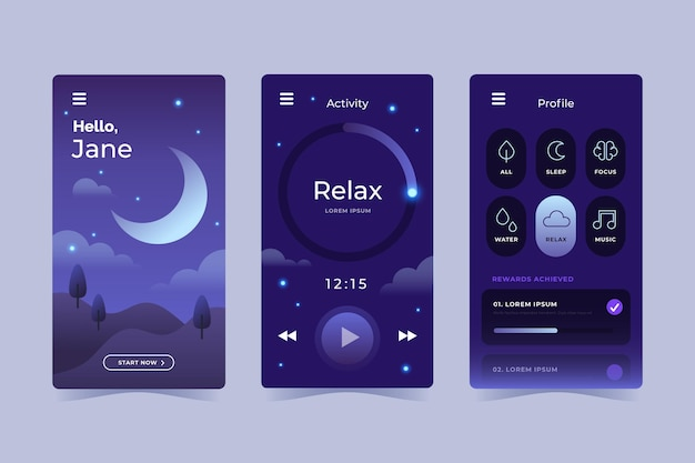 Flat design meditation app collection