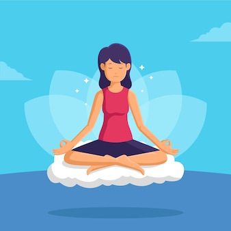 Flat design meditation concept illustrated
