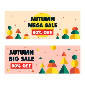 Flat design mega sale autumn banner