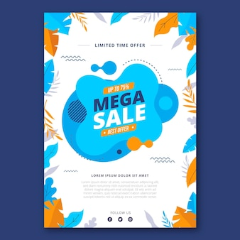 Flat design mega sales poster template