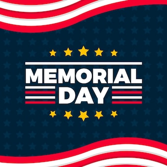 Flat design memorial day background with stars and stripes