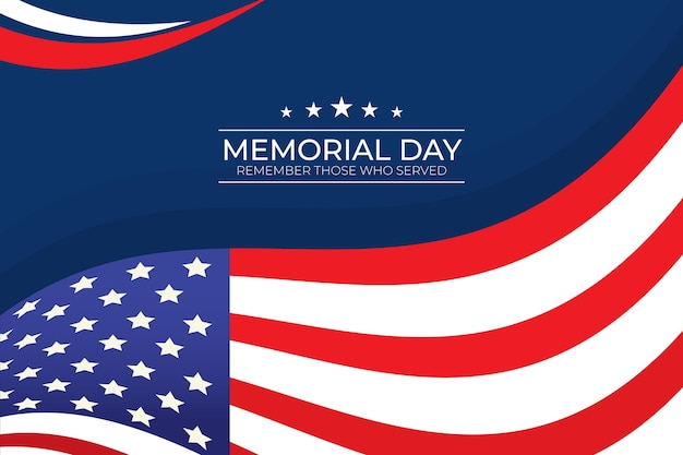 Flat design memorial day background with usa flag