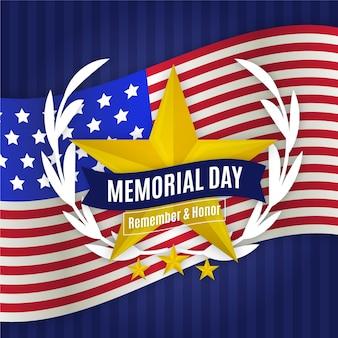 Flat design memorial day remember and honour
