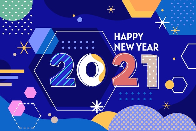 Flat design memphis style new year 2021 background