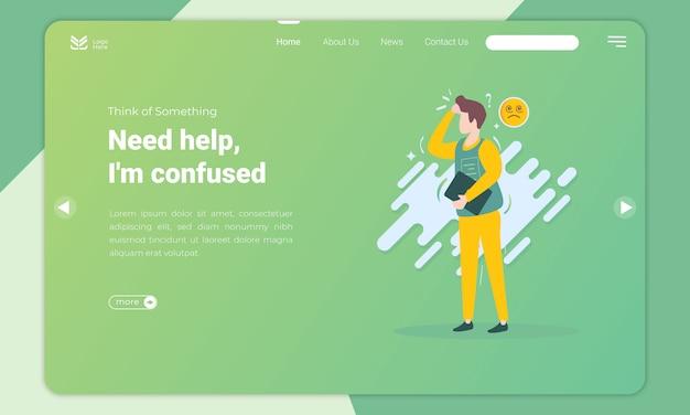Flat design of men need help confused expression landing page template