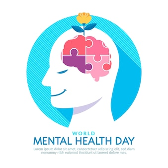 Flat design mental health day