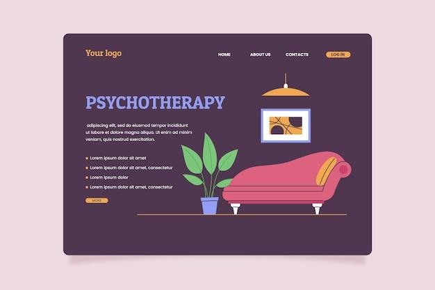 フラットデザインのメンタルヘルスランディングページ
