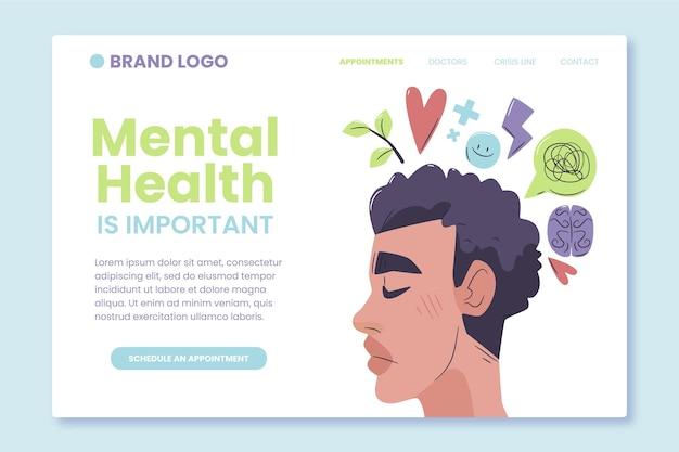 Flat design mental health landing page