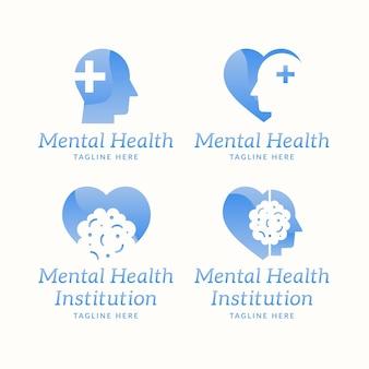 Flat design mental health logo collection