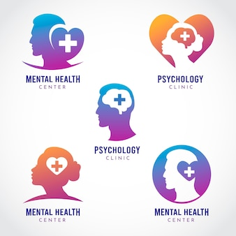 Flat design mental health logo collection