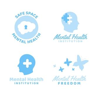 Flat design mental health logo set