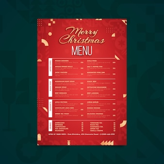 Flat design menu template