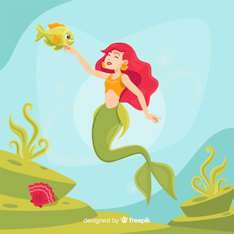 Flat design mermaid character background