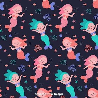Flat design mermaid pattern background