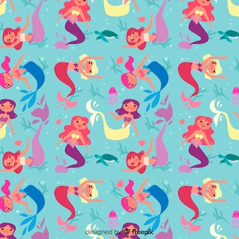 Flat design mermaid pattern background