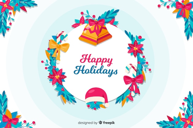 Flat design merry christmas background Free Vector