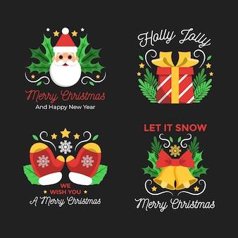 フラットデザインのメリークリスマスラベルパック