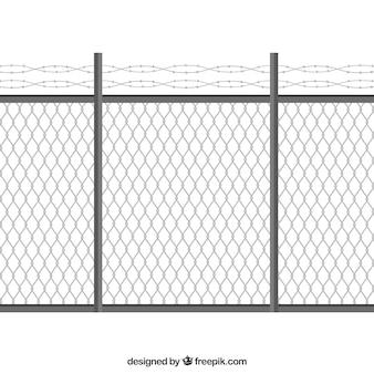 有刺鉄線のフラットデザインの金属フェンス