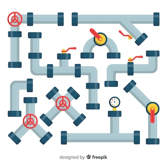 Flat design metal pipeline set with valves