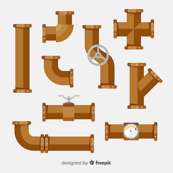 Flat design metal pipes with valves set