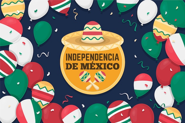Flat design mexic independence day background
