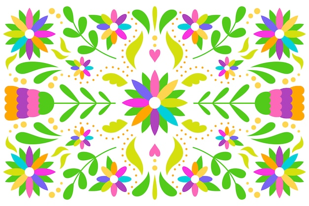 Flat design mexican arrangement of leaves and flowers background