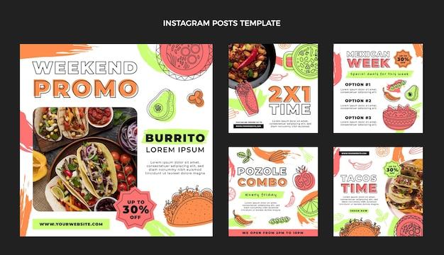 Плоский дизайн поста в instagram с мексиканской едой
